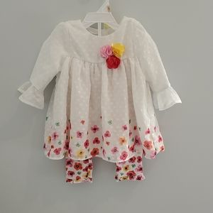 Nannette Girl's Outfit 12 Months White Floral